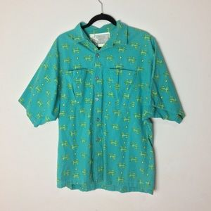 LOREN SCOTT Men's Blue Button front Short Sleeve L